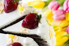 Torte de citron de fraise de chocolat Images libres de droits