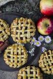 Torte della mano della mela, stciks della cannella e mele organici casalinghi fotografia stock
