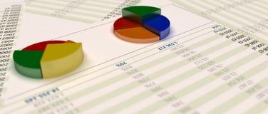 Torte des Diagramms 3d auf Papier mit Finanzinformationen Lizenzfreie Stockfotos