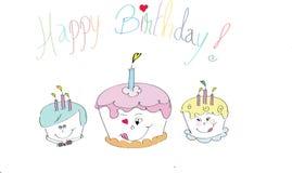 Torte di compleanno felici Immagini Stock Libere da Diritti