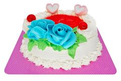 Torte with marzipan roses Royalty Free Stock Photo
