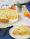 Torte mit Pfirsichen und Sahnefüllung Lizenzfreie Stockbilder