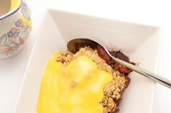 Torte-und Vanillepudding-Nachtisch Stockbild