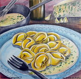 Tortelli avec du fromage de Gorgonzola Photos stock