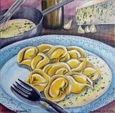 Tortelli med Gorgonzola ost Arkivfoton