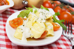 Tortellin pasta with cheese sauce Stock Photos