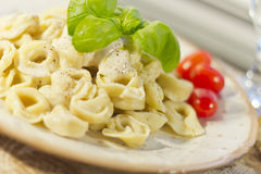 Tortellini με τη σάλτσα του Alfredo στοκ φωτογραφία