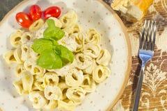 Tortellini with Alfredo Sauce Stock Photos