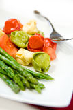 Tortellini and Asparagus Stock Photography