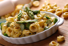 Tortellini with asparagus Stock Photo