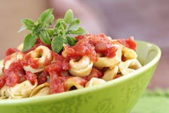 Tortellini avec la tomate photographie stock