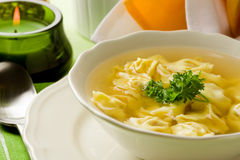Tortellini in bouillon Royalty Free Stock Image
