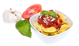 Tortellini in a bowl isolated on white Stock Image