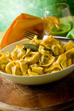 Tortellini with Butter and Sage Stock Photo