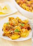 Tortellini casalinghi di raviloi con salsa al pomodoro con i funghi Fotografia Stock