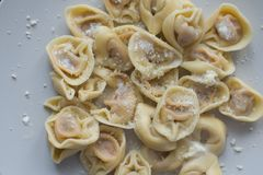 Tortellini with cheese sauce and butter Royalty Free Stock Photo