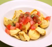 Tortellini with chili sauce Royalty Free Stock Image