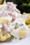 Tortellini con la salsa cremosa Fotografía de archivo libre de regalías