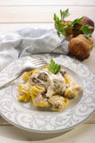 Tortellini with cream sauce Royalty Free Stock Photos