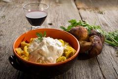 Tortellini with cream sauce Stock Images