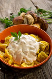 Tortellini with cream sauce Stock Images
