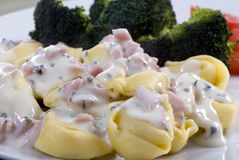 Tortellini with cream sauce Stock Image