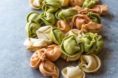 Tortellini cru da massa/multicolorido colorido/colorido ou tri colorido Fotos de Stock Royalty Free