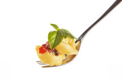 Tortellini on fork. Royalty Free Stock Photography