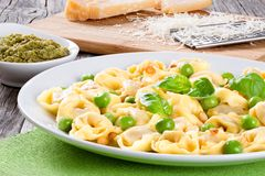 Tortellini with green peas, fried Pine nuts,  top view Royalty Free Stock Images