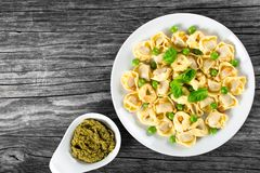 Tortellini with green peas, fried Pine nuts,  top view Royalty Free Stock Photography