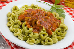 Tortellini with Marinara Sauce Stock Photos