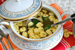 Tortellini in meat broth Royalty Free Stock Photo