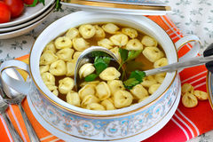 Tortellini in meat broth Royalty Free Stock Photography