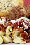 Tortellini and Meatballs with Sauce royalty free stock photo
