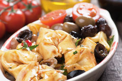 Tortellini and olive salad Stock Image