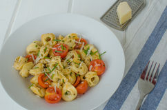 Tortellini with parmesan and tomatoes Royalty Free Stock Photos
