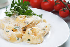 Tortellini pasta in cheese sauce Stock Images