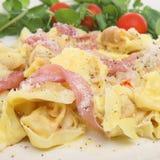 Tortellini Pasta with Parma Ham Stock Image