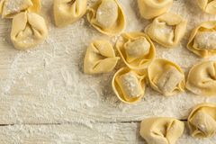 Tortellini Pasta. Tortellini or Tortelloni pasta on a flour dusted board royalty free stock image
