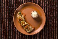 Tortellini with pomodoro sauce. Gourmet food Stock Image