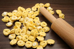 Tortellini with rolling pin Royalty Free Stock Photo