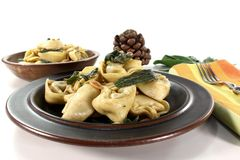 Tortellini with sage butter Stock Images