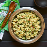Tortellini Salad with Peas and Bacon Stock Photos