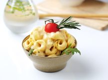 Tortellini and sauce Stock Images