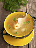 Tortellini soup. Chicken tortellini soup with vegetables Royalty Free Stock Image