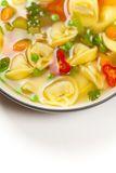 Tortellini soup. Macro Royalty Free Stock Images