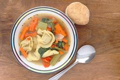Tortellini soup from an overhead perspective Stock Photography
