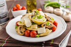 Tortellini stuffed with a mixture of vegetable spring. Homemade tortellini stuffed with mushrooms and spring onion, roasted tomatoes, garlic souce, topped stock image