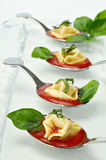 Tortellini tasting spoons appetizer Royalty Free Stock Images
