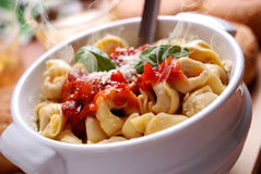 Tortellini with tomato sauce Stock Photography